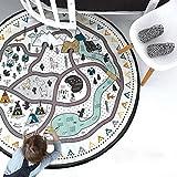 OldPAPA Baby Krabbeldecke Spieldecke, Spielmatte / Spielteppich für Kinder - Rund, Groß & Weich gepolstert 135cm - Ideal fürs Kinderzimmer
