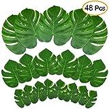 Kuuqa 48 Pcs Tropical Party Decor Plante Artificielle Tropical Palm Monstera Feuilles Simulation Feuille pour Hawaiian Luau Safari Party Jungle Plage Thème BBQ Birthday Party Décorations Fournitures 3 tailles