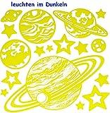 Unbekannt 17 tlg. Wandtattoo / Fensterbild / Sticker Glowing in The Dark - Planet Erde Planeten Sterne Leuchtet im Dunkeln Glow