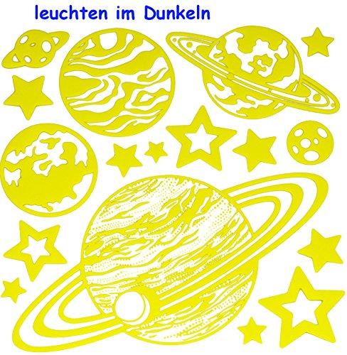 ndtattoo / Fensterbild / Sticker Glowing in The Dark - Planet Erde Planeten Sterne leuchtet im Dunkeln Glow ()