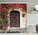 Abakuhaus Duschvorhang, Altes Elegantes Hölzerne Tür in Italien Umgeben von Blumen mittelalterlichem Europäischem Druck, Wasser und Blickdicht aus Stoff mit 12 Ringen Bakterie Resistent, 175 X 200 cm
