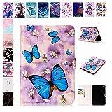 E-Mandala Apple iPad 2018/2017 / Air/Air 2 Hülle Leder Flip Case Tablet PC Tasche mit Kartenfach Ledertasche Lederhülle - Schmetterling Lila Blumen