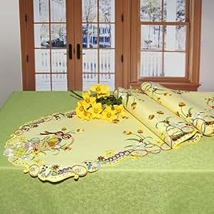 Chemin de table jaune à motifs en pastel ornées de ravissantes-broderies haut de gamme-dimensions :  40 x 160 cm-série non combinez nappe avec tischläufern, auflegern et taies d'oreiller classique
