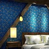 Papier peint Vintage rétro style sud-est asiatique paon plume motif 3D rouleau de papier peint pour salon/chambre à coucher/mur de TV/restaurant/magasin de vêtements, A
