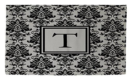 Manuelle holzverarbeiter & Weavers Dobby Bad Teppich, 4von druckknopfstiel, Monogramm Buchstabe T, schwarz und grau damast - Schwarz Floral-teppich