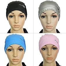 Rvs Protect Ears Long Hair Sports Swim Pool Swimming Cap Hat for Men Women Adults