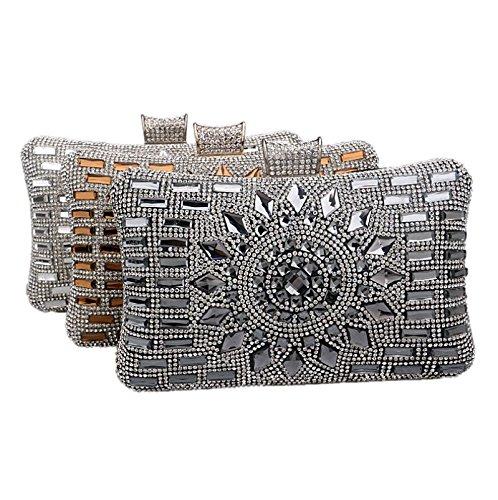 ruiio Fashion Lady Diamond Luxus Abend Handtasche Hochzeit Party Clutch Make-up Taschen Tasche Geldbörse Schwarz