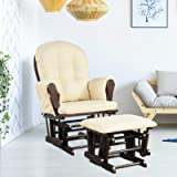 COSTWAY Nursing Glider and Footstool, Reclining Maternity Chair with Storage Pocket, Padded Cushions, Wood Rocking Baby…