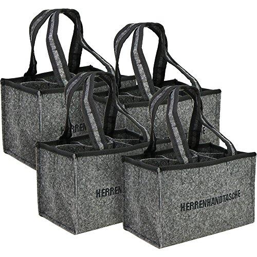 COM-FOUR® 4x Sac de transport pour bouteilles, sac en feutre, sac bouteille en feutre pour 6 bouteilles jusqu'à 0,5 L, gris / noir, 24 x 15 x 15 cm (04 pièces - feutre)