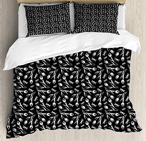 Marchico 4-teiliges Bettwäsche-Set, Bettbezug-Set mit 2 Kissenbezügen, Tagesdecke, einfarbige Silhouetten von Libellen und romantischen Tulpenblüten, Schwarz/Weiß, Polyester, einfarbig, Queen