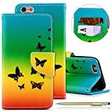 iPhone 6 Plus/6S Plus Leather Case,iPhone 6 Plus/6S Plus Wallet Case,iPhone 6 Plus/6S Plus Shockproof Case,Herbests 3D Butterfly Flower Cat Embossing Colorful Pattern PU Leather Flip Case with [Kickstand] Stand Function Card Holder and ID Slot Slim Flip Protective Skin Cover for iPhone 6 Plus/6S Plus + 1 x Touch Pen-Rainbow Butterfly