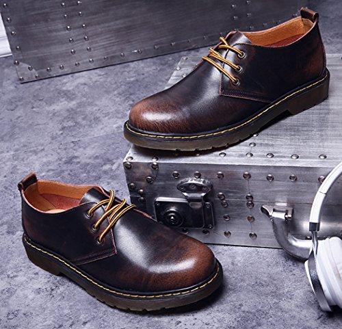 Y-BOA Richelieu Lacet Homme Chaussure de Ville Cuir Martin Business Style Anglais Motard Vintage Brun