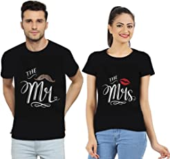 Mrins™ Couple T Shirts | Made of 100% Cotton,Bio washed and Premium Quality Fabric | Couple tees with The Mr and The Mrs design | Perfect Gift for Couple and for Lovers | Couple T shirts for lovers - Set of 2 T shirts