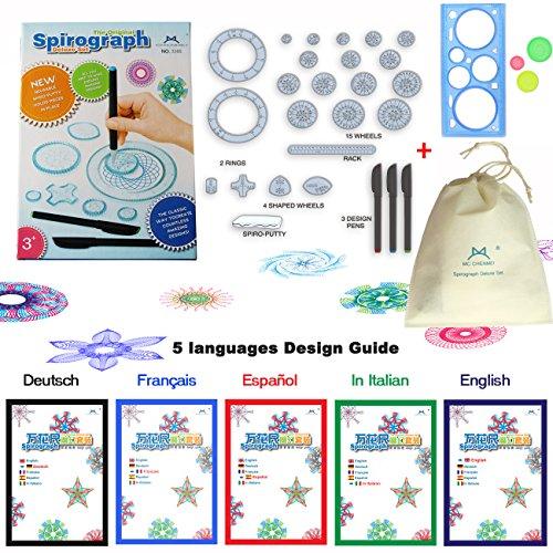 MC CHENMEI® Spirograph Deluxe Set Design Giocattoli educativi Disegno Giocattoli Insieme Spirografo per Adulti e Bambini