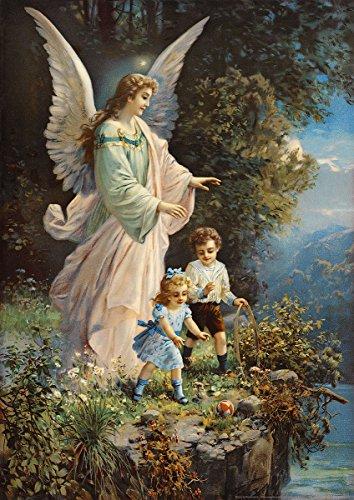 Postereck - 0152 - Schutzengel und Kinder, Altes Gemälde - Poster DIN - A4 - 21.0 cm x 29.7 cm