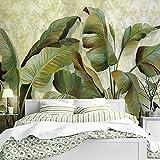 HUANGYAHUI Wandbilder Das Wohnzimmer Wallpaper Breite Blatt Pflanzen Sofa Wand Tapete Grün Banana Leaf Vliestuch Gemälde