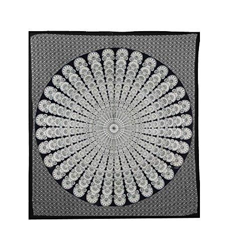 Indisches Hippie Dorm Decor mit Tagesdecke Strand Decke Bohemian-Überwurf indische Quilt indische Decke Mandala-Wand aus Strandtuch Beach Wandteppich, Baumwolle, Queen Gobelin Yoga-Matte -