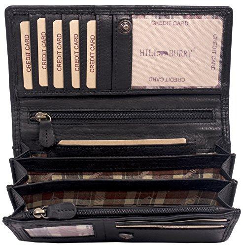 Hill Burry Leder Geldbörse | echtes Vintage Leder - XXL weiches Portemonnaie (Schwarz)