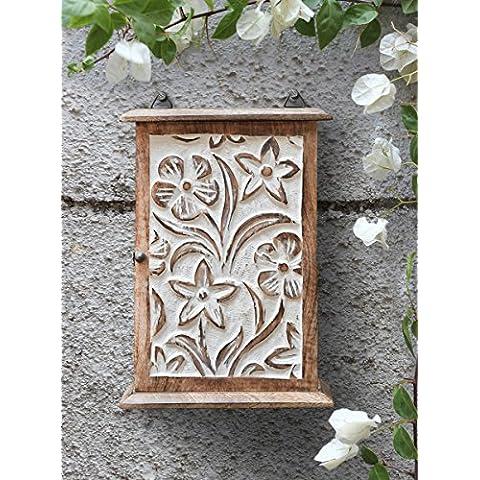 Store Indya, Portachiavi Cabinet Mangowood Storage Box con motivi floreali e 6 ganci