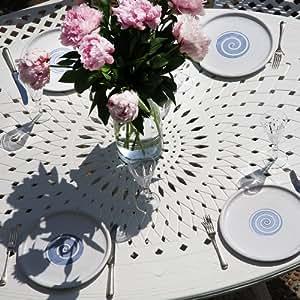 JESSICA blanc 120 x 180 cm en résine blanche table ovale jESSICA 6 chaises rOSE blanc