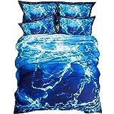 YGMDSL Bettfutter 4-teiliges Set Baumwolle Einfach Blau Welle (1 Bettbezug 1 Bettlaken 2 Kopfkissenbezüge),200 * 230cm
