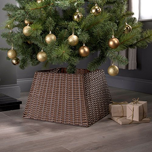 Xmas Christmas Tree Rattan Wicker Skirt Stand Base Basket Cover Tidy Decor