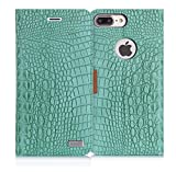 WWW iPhone 7 Plus Case, iPhone 7 Plus Wallet Case, [Krokodil Muster] RFID-Resisting Premium PU Leder Wallet Case Flip-Telefon Schutzhülle mit Kartenschlitzen für Apple iPhone 7 Plus A-Mint Green