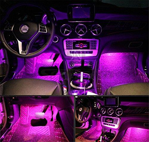LED-Innenbeleuchtungsset für unter das Armaturenbrett, mit 3 m langem Klebeband, 4 Stück, in Pink