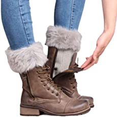 Voberry Women's Exclusive Knitted Fur Soft Leg Warmers Boot Cuff Boot Cover