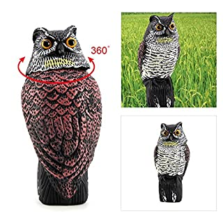 AllRight Realistic Owl Wind Action Fake Owl Decoy Crow Scarer