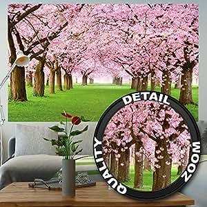 Fotomurale Fiori di ciliegio Quadro Decorazione Fiori Primavera Giardino Piante Bosco Parco Natura Cherry Tree Ciliegio in fiore Viale I Fotomurales by GREAT ART (210x140 cm)