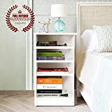 4 Tier Wood Bedside Table, Nightstand, White