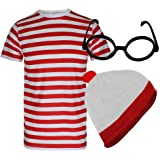 Style Wise Fashion Womens Mens Red and White T Shirt Hat Glasses Set Unisex Stripe Tshirts Hat Glasses Set Book Week Fancy Dr
