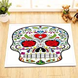 Painted sugar skull,black,red,blue,white,purple/Decor Bath Mat Non-slip Washable Soft Shower Rug,40X60 CM