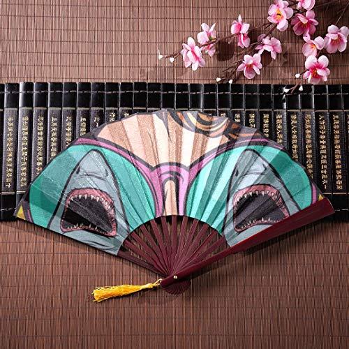 EIJODNL Chinesische Hand Fan Eine Frau mit Sonnenbrille mit Bambusrahmen Quaste Anhänger und Stoffbeutel Faltfächer Lange Frauen Falthandfächer Handgefalteter Fächer