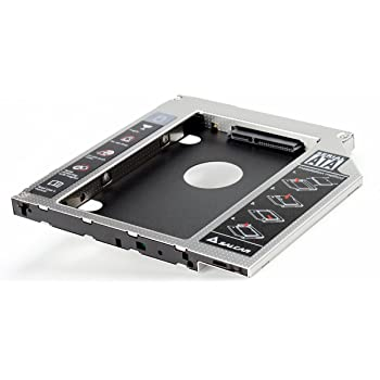 Salcar - HDD / SSD Hard Drive Caddy Adapter Kit for SATA hard drives compatible with all laptops that have a universal 9.5mm drive bay; (aluminium)
