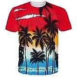 Idgretim Frauen Männer Universum Hawaii Sternenhimmel 3D Gedruckt Sommer Casual Kurzarm Baum T-Shirts