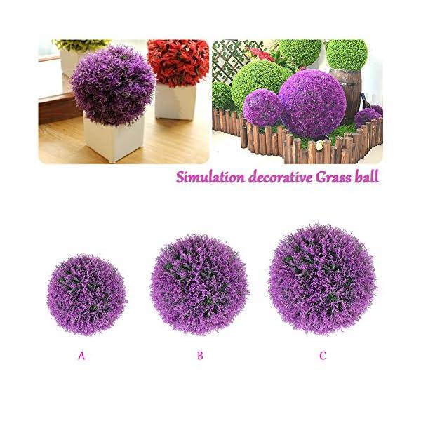 Yunhigh Bola Planta Planta artificial Topiary boj bola decorativa de imitación de lavanda púrpura bola de la hierba…