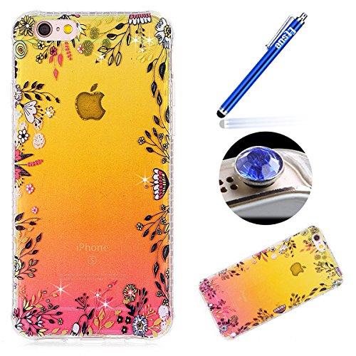 iPhone 6S Custodia Diamante Bling,iPhone 6 Cover in Silicone,Etsue 2017 Neo Disegni Donna Ragazza Cristallo Bling Scintillante Diamante Bella Elegante Romantico Rose Floreale Modello Trasparente Fless Fiori