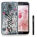 Slynmax Galaxy S5 Hülle Durchsichtig TPU Glitzer Liquid Case Silikon Schutzhülle für Samsung Galaxy S5 / S5 Neo Bumper Handyhülle Tasche Dual-Layer Treibsand Shell(Silber Smile)