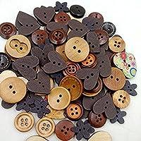 OULII Pack de Scrapbooking botones de madera coser botón infantil bricolaje decoración de la Navidad de boda favores (café)