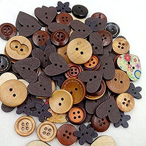 FENICAL Pack de Scrapbooking botones de madera coser botón infantil bricolaje decoración de la Navidad de boda favores (café)