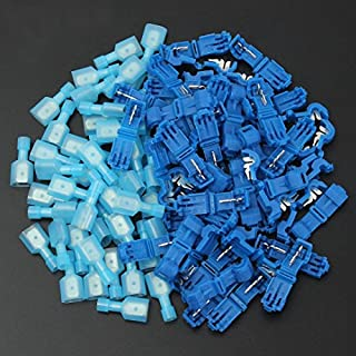 AUAUDATE Quick Splice Wire Terminals Spade Connectors Electrical Crimp Cable (Blue(50 Pairs / 100PCS))