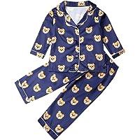 Carolilly - Set pigiama per bambini e bambine, a maniche lunghe, in raso, con orsacchiotto e pois stampati