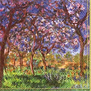 Ihr – Serviettes en papier Fine Art Old Master Luxe 20 – Monet printemps une Giverny