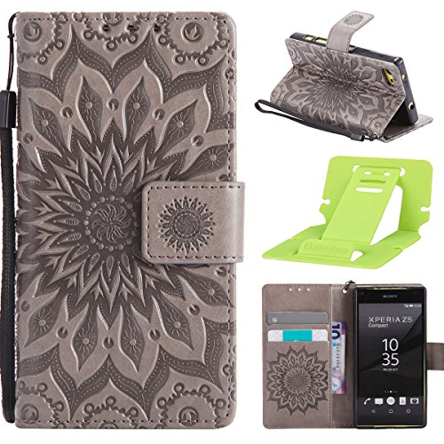 Coque Cuir Etui Pour Sony Xperia Z5 Mini,Sony Xperia Z5 Compact Portable Coque Housse,Ekakashop Jolie Pourpre Tournesol Painting Bookstyle Rabat Shell Silicone Etui Flip Cover Smart Case Housse de Pro Gris