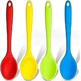 4 Pièces Petites Cuillères en Silicone Multicolores Cuillère de Cuisine Antiadhésive Cuillère de Service en Silicone Cuillère