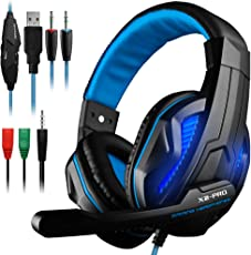 Gaming Headset DLAND 3.5mm Wired Bass Stereo Noise Isolation Gaming Headphones with Mic for Laptop , PS4, Black and Blue with LED Light