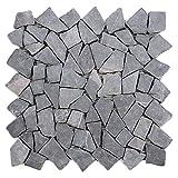 Divero 9 Matten 33 x 33cm Marmor Naturstein-Mosaik Fliesen für Wand Boden Bruchstein grau
