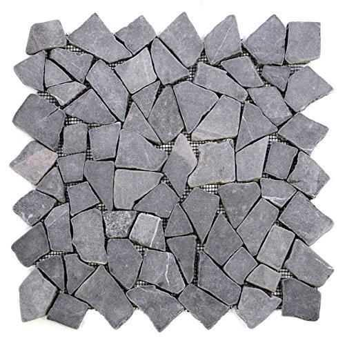 Divero 9 Fliesenmatten Naturstein Mosaik aus Marmor für Wand und Boden grau á 35 x 35 cm -